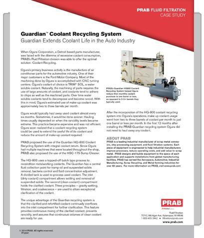 PRAB » Case Study: Auto Parts Manufacturer Reduces Coolant Purchase