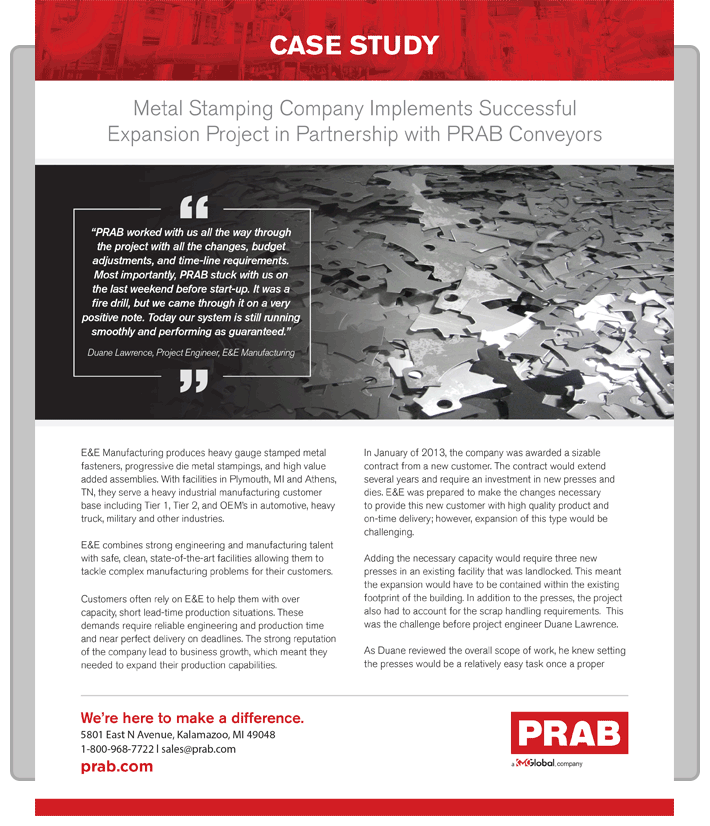 PRAB » Case Study: Metal Stamping Company Implements Successful
